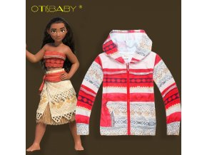 Spring and Autumn Moana Princess Print Girls Boys Jacket Thin Coat Kids Boy Hooded Jacket Tops 1