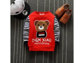 DIIMUU 1PC Kids Baby Boys Girls Clothes Toddler Children Autumn Fashion Cartoon Bear Striped Sleeve Tops 2