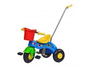 Dětská šlapací tříkolka s vodící tyčí BAYO JUNIOR modrá