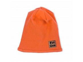Kojenecká bavlněná čepička Nicol Fox Club oranžová, vel. 92/98