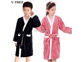Winter Kids Bathrobe Fleece Robes For Boys Solid Girls Pajamas Warm Children Pyjama Teenager Bath Robe 1