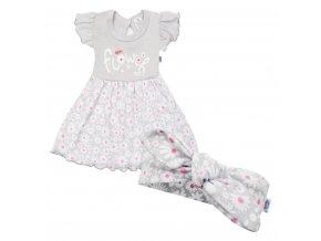Kojenecké letní bavlněné šatičky s čelenkou New Baby Happy Flower šedé, vel. 56 (0-3m)