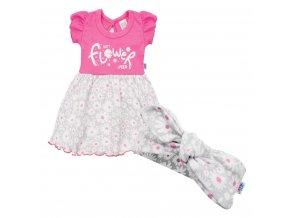 Kojenecké letní bavlněné šatičky s čelenkou New Baby Happy Flower tmavě růžové, vel. 56 (0-3m)