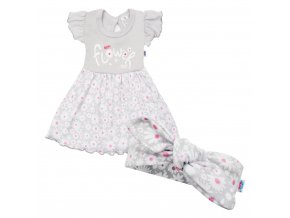 Kojenecké letní bavlněné šatičky s čelenkou New Baby Happy Flower šedé, vel. 68 (4-6m)