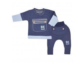 Kojenecké bavlněné tepláčky a tričko Koala BE BRAVE modré, vel. 62 (3-6m)