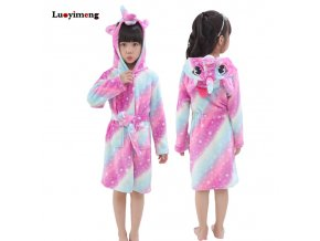 Kids Bathrobe For Girls Pajamas Star Unicorn Towel Flannel Sleepwear Cute Cartoon Unisex Nightwear Robe Boys 1
