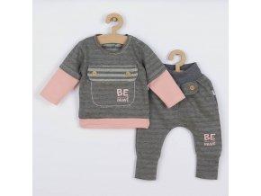 Kojenecké bavlněné tepláčky a tričko Koala BE BRAVE šedo-růžové, vel. 68 (4-6m)