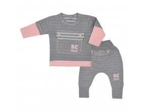 Kojenecké bavlněné tepláčky a tričko Koala BE BRAVE šedo-růžové, vel. 74 (6-9m)