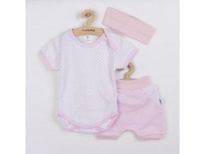 3-dílná letní bavlněná souprava New Baby Perfect Summer světle růžová, vel. 62 (3-6m)