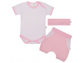 3-dílná letní bavlněná souprava New Baby Perfect Summer světle růžová, vel. 68 (4-6m)