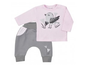 Kojenecké bavlněné tepláčky a tričko Koala Birdy růžové, vel. 56 (0-3m)