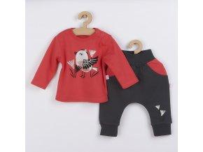 Kojenecké bavlněné tepláčky a tričko Koala Birdy tmavě růžové, vel. 56 (0-3m)