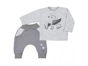 Kojenecké bavlněné tepláčky a tričko Koala Birdy šedé, vel. 80 (9-12m)