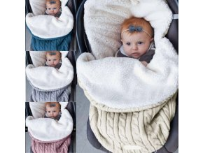 Baby sleeping bag baby thickening plus velvet knit warm sleeping bag wool stroller sleeping bag 1