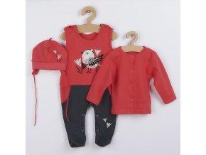 3-dílná bavlněná dětská souprava Koala Birdy tmavé růžová, vel. 80 (9-12m)
