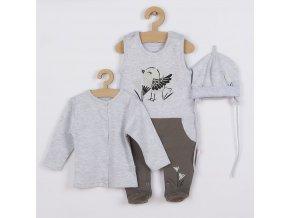 3-dílná bavlněná dětská souprava Koala Birdy šedá, vel. 80 (9-12m)
