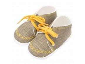 Kojenecké capáčky tenisky New Baby jeans mustard 12-18 m