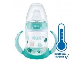Kojenecká láhev na učení NUK s kontrolou teploty 150 ml zelená