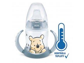 Kojenecká láhev na učení NUK Medvídek Pú s kontrolou teploty 150 ml šedá