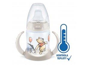 Kojenecká láhev na učení NUK Medvídek Pú s kontrolou teploty 150 ml béžová