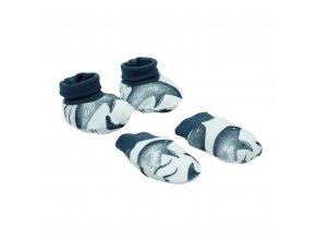 Kojenecký bavlněný set-capáčky a rukavičky Nicol Dolphin