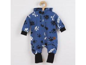 Kojenecký bavlněný overal s kapucí a oušky New Baby Paw modrý, vel. 56 (0-3m)