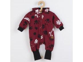 Kojenecký bavlněný overal s kapucí a oušky New Baby Paw tmavě růžový, vel. 56 (0-3m)