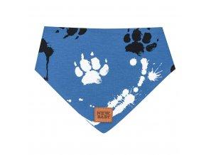 Kojenecký bavlněný šátek na krk New Baby Paw modrý M