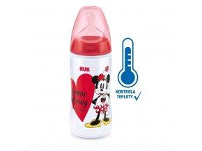 Kojenecká láhev na učení NUK Disney Mickey s kontrolou teploty 300 ml červená