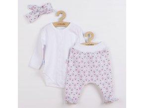 3-dílná bavlněná kojenecká souprava New Baby Kiddy bílo-růžová, vel. 62 (3-6m)