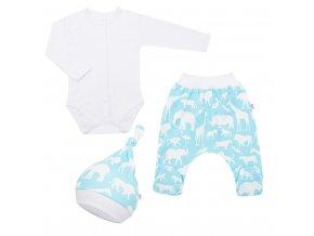 3-dílná bavlněná kojenecká souprava New Baby Kiddy bílo-tyrkysová, vel. 56 (0-3m)