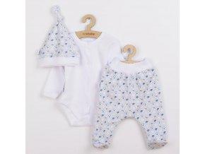 3-dílná bavlněná kojenecká souprava New Baby Kiddy bílo-modrá, vel. 56 (0-3m)
