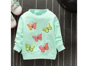2019 New Arrival Baby Girls Sweatshirts Winter Spring Autumn Children Hoodies 6 Cats Long Sleeves Sweater Green butterfly