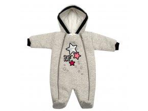Zimní kojenecká kombinéza s kapucí Koala Star Vibes růžová, vel. 56 (0-3m)