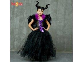 Evil Queen Black Gown Tutu Dress with Deluxe Horns and Wings Girls Villain Fancy Dress Kids.jpg Q90.jpg