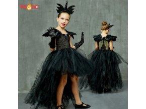 Black Dark Angel Girls Tutu Dress V neck Train Girls Pageant Evening Party Ball Gown Fancy.jpg Q90.jpg