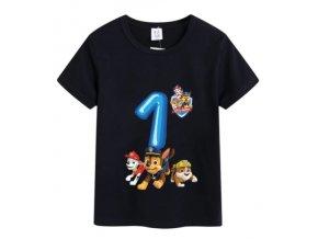 """Černé narozeninové tričko """"Tlapková patrola"""""""