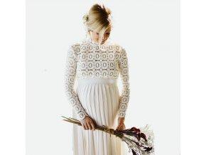 Těhotenské šaty s krajkou a skládanou sukní