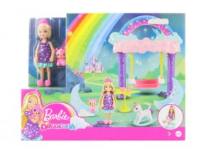 Barbie Chelsea s houpacím koníkem herní set GTF50