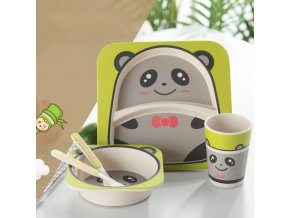5pcs sets Baby Dish Tableware Set Natural Bamboo Fiber Bowl With Cup Spoon Plate Fork Feeding 2