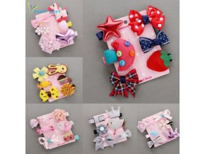 1 Set 6PCS New Kids Children Accessories Hairpins Barrettes Baby Fabric Bow Flower Headwear Hair clips 1