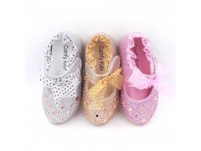 AFDSWG spring and autumn fashion pink bowknot leather shoes girl silver low heeled shoes princess leather 6