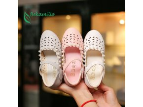 2017 New Girls Shoes leather shoes Cut outs pearl For Kids Autumn Shoes sweet girls Princess 2