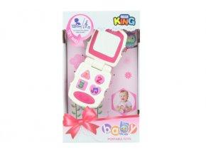 Baby telefon růžový na baterie