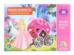 Magnetická stavebnice 29 ks kočár pro panenky