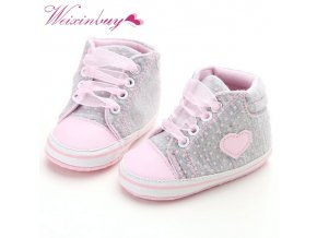 Infant Newborn Baby Girls Polka Dots Heart Autumn Lace Up First Walkers Sneakers Shoes Toddler Classic 1