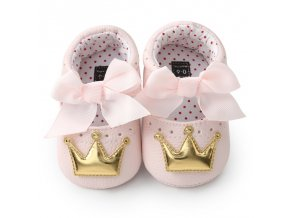 Baby Girl PU Leather Shoes Kid Moccasins First Walkers Crown Bow Soft Soled Non slip Footwear as show