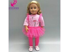 For 43cm Babies Born Dolls Pink tutu dress for 18 inch girls doll princess dress toys 3