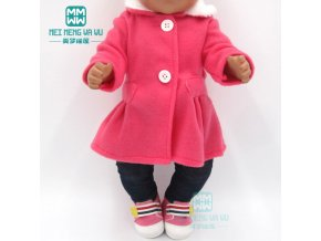Clothes for doll fit 43cm toy new born doll and American doll accessories fur collar coat 1