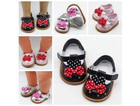 New Fashion Baby Doll Shoes 7cm Shoes Leather Shoes With Bow Fits 43cm Dolls Baby New 1